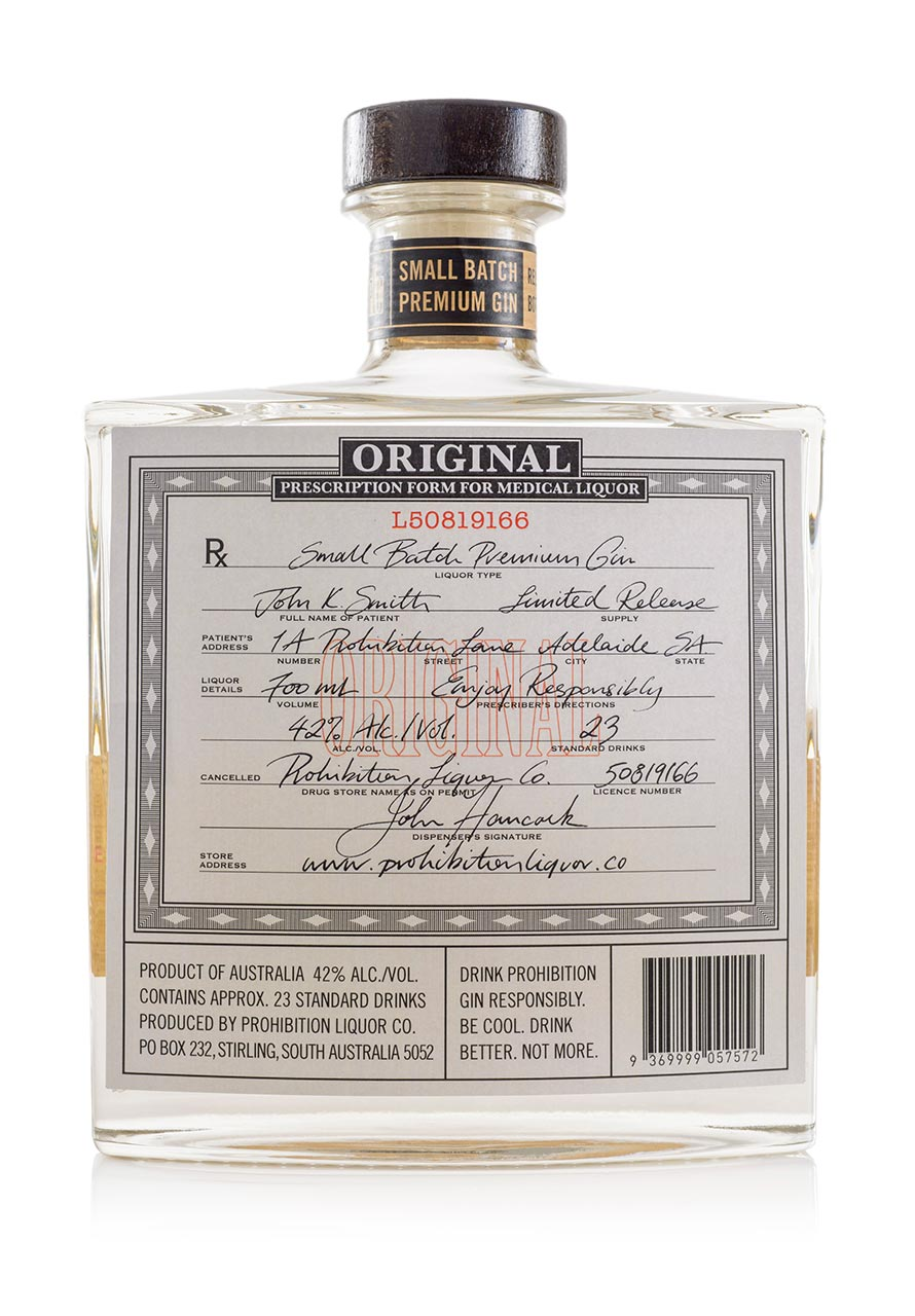 Prohibition Liquor Co Original Gin - Rear
