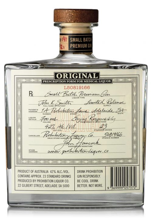 Prohibition Liquor Co Original Gin - Rear Label