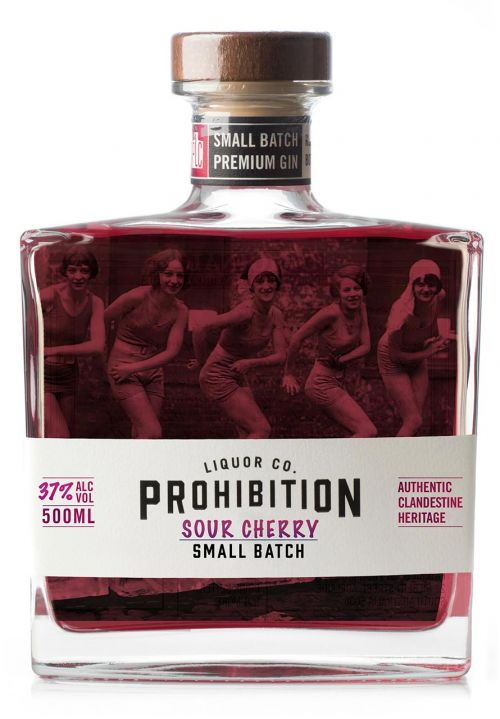Prohibition Liquor Co Sour Cherry Gin, Front Label