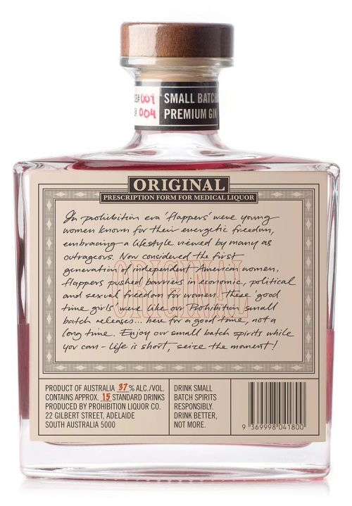 Prohibition Liquor Co Sour Cherry Gin, Rear