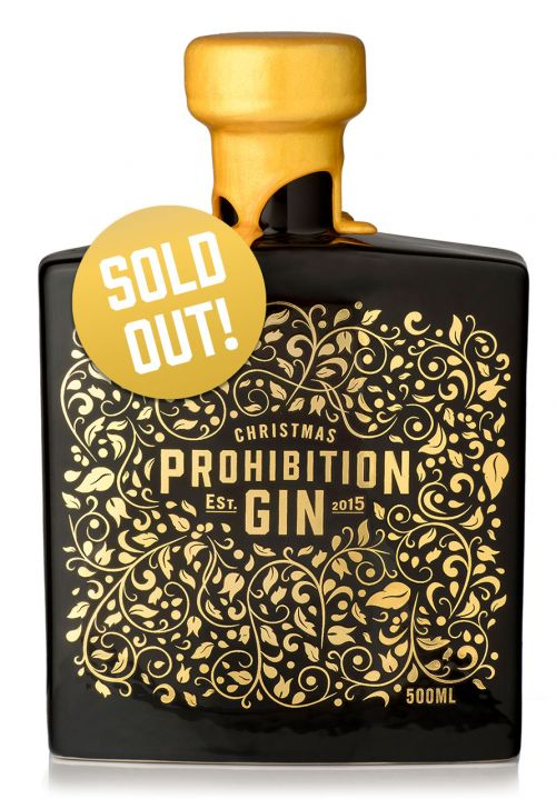 Prohibition Liquor Co Christmas Gin Front with Sold Out Badge