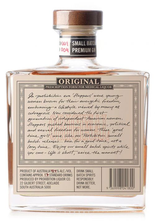 Prohibition Muscat Gin - Rear