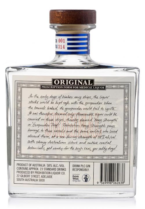 Prohibition Navy Strength Gin Rear