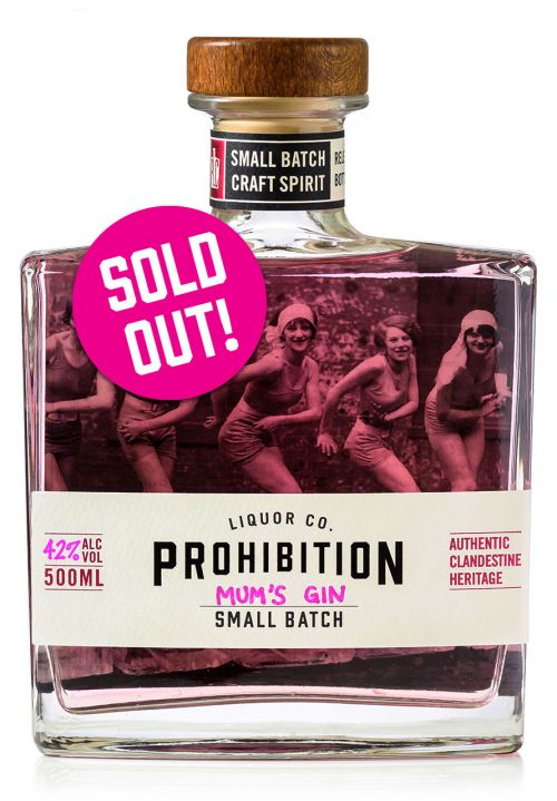Prohibition Mother's Day Gin labeled Mum's Gin, bottle front-on with Sold Out badge