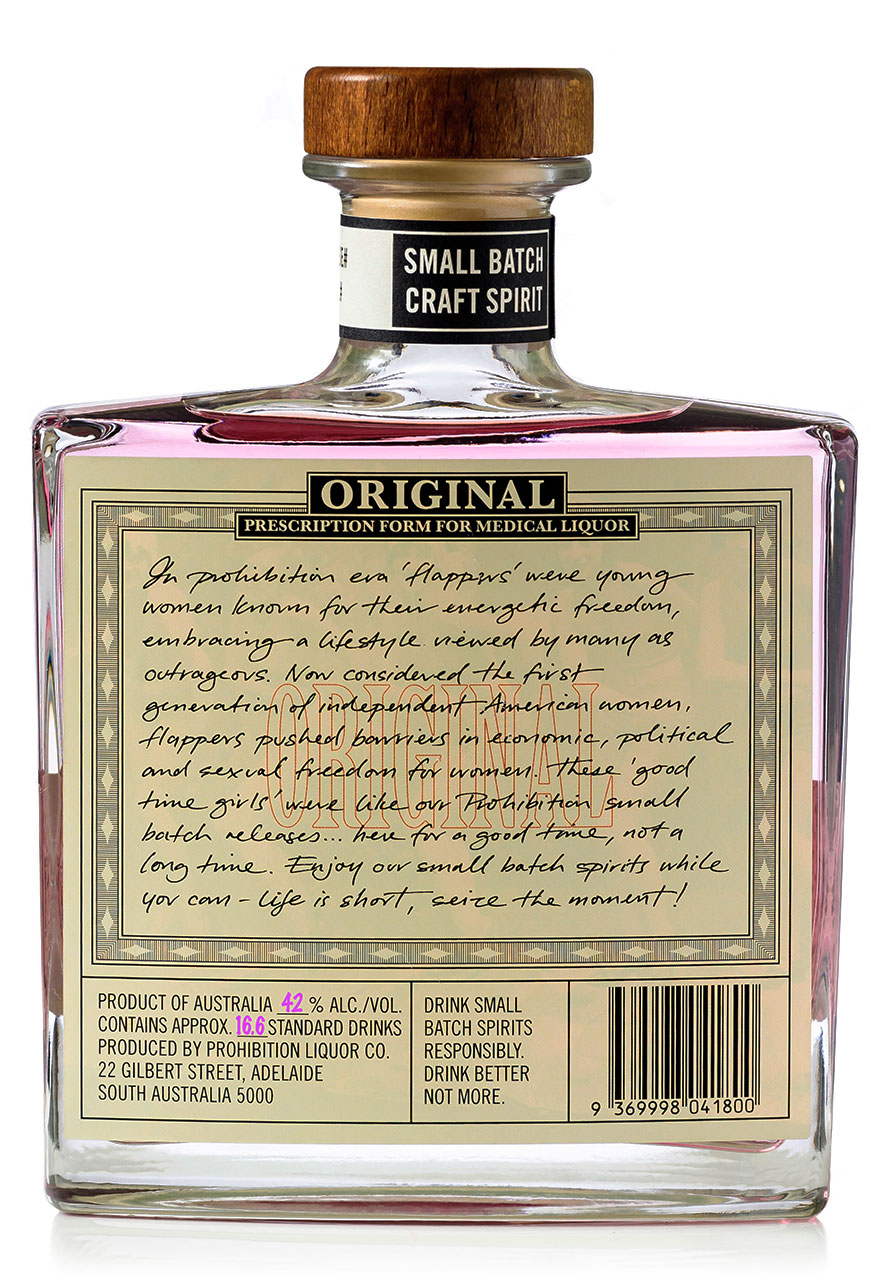 Prohibition Mother's Day Gin rear label