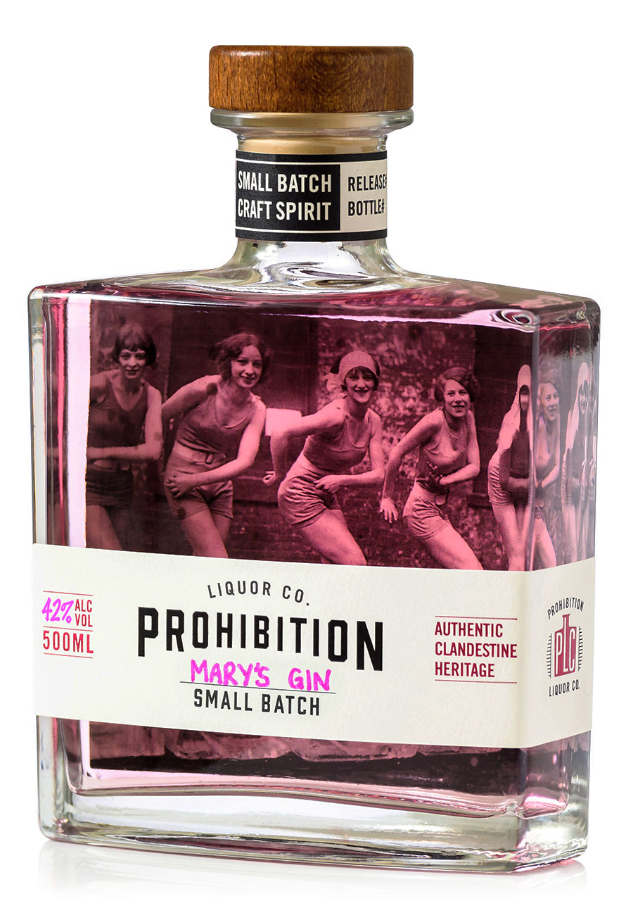 Prohibition Mother's Day Gin labeled Mary's Gin, bottle at a slight angle